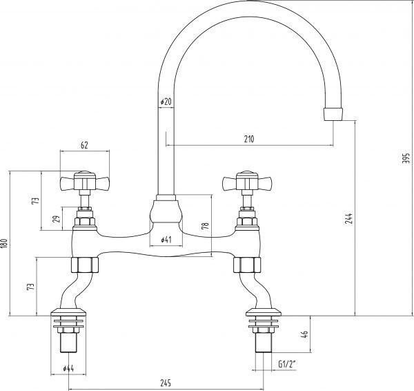 Keukenmengkraan-met-kruisgreep-WB1883-afmetingen