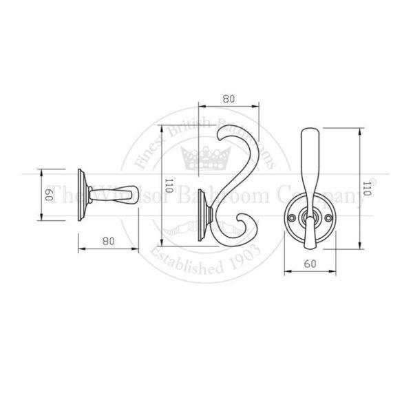 Dubbel-wandhaak-wandmontage-bouwtekening