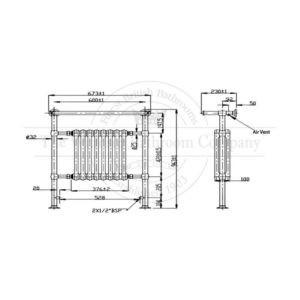 Handdoekradiator-bouwtekening-verticaal