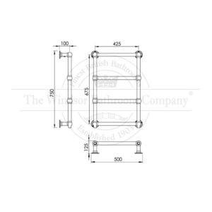 Handdoekradiator-bouwtekening-verticaal-muurmodel
