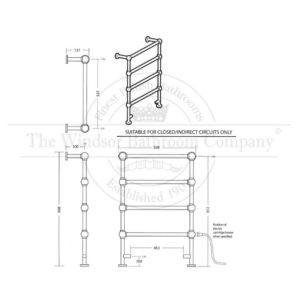Handdoekradiator-elektrisch-bouwtekening