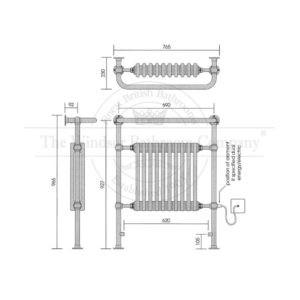 Handdoekradiator-horizontaal-chroom-bouwtekening
