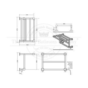 Handdoekradiator-horizontaal-elektrisch-bouwtekening