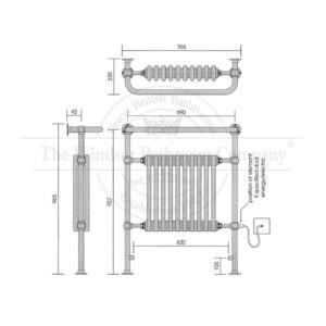 Handdoekradiator-horizontaal-goud-bouwtekening