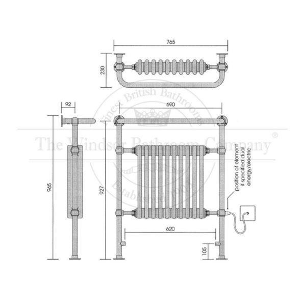 Handdoekradiator-horizontaal-nikkel-bouwtekening