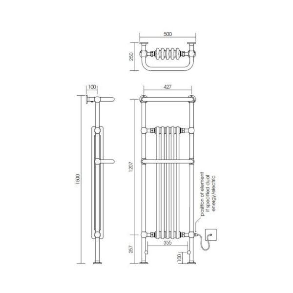Handdoekradiator-verticaal-bouwtekening
