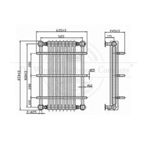 Handdoekradiator-verticaal-chroom-bouwtekening