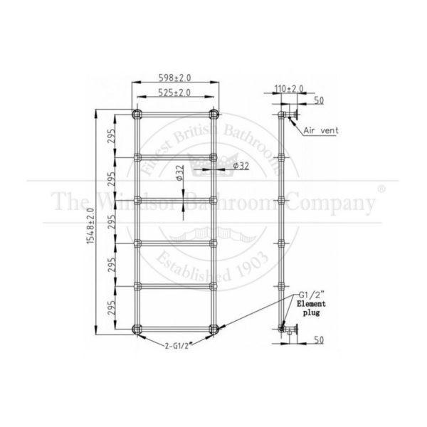 Handdoekradiator-verticaal-cv-bouwtekening