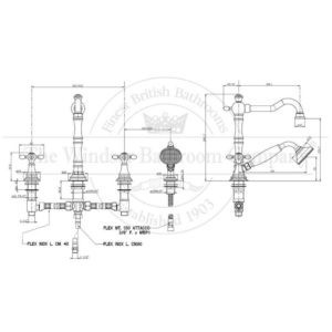 Klassieke 4-gats-badmengkraan-randmontage-afmetingen-HS3073